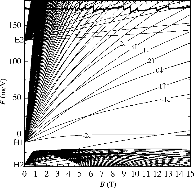 Landau levels of the E2, H1, and H2 subbands for an n-type