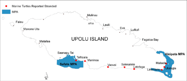 Map of Upolu island in the Independent State of Samoa