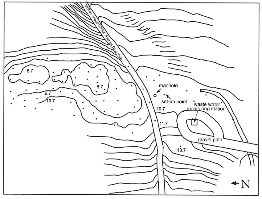 Elevation contours in the vicinity of the proposed wetland