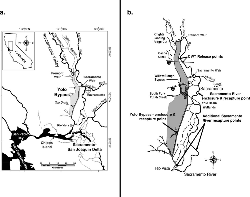 a) Map of the location of the Yolo Bypass, California, in