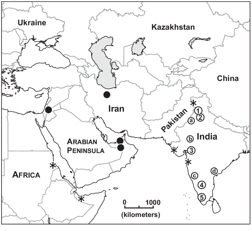 Map of central and southwest Asia showing collecting