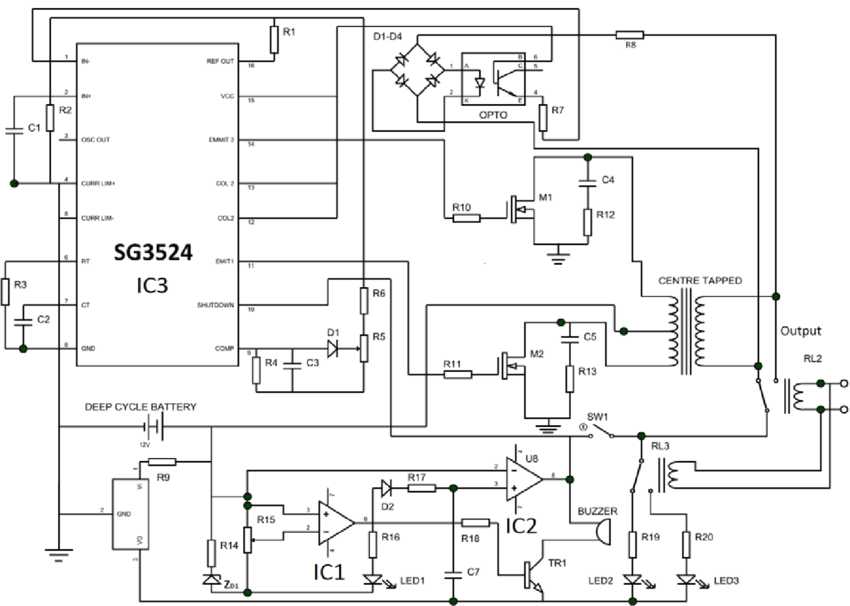 Complete Circuit Diagram of the 12V, 1.5kVA Inverter
