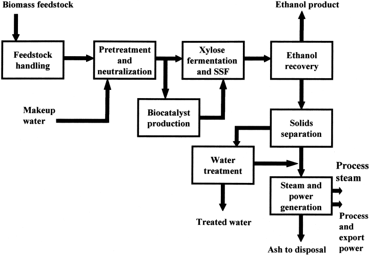 Block flow diagram for conversion of biomass to ethanol by