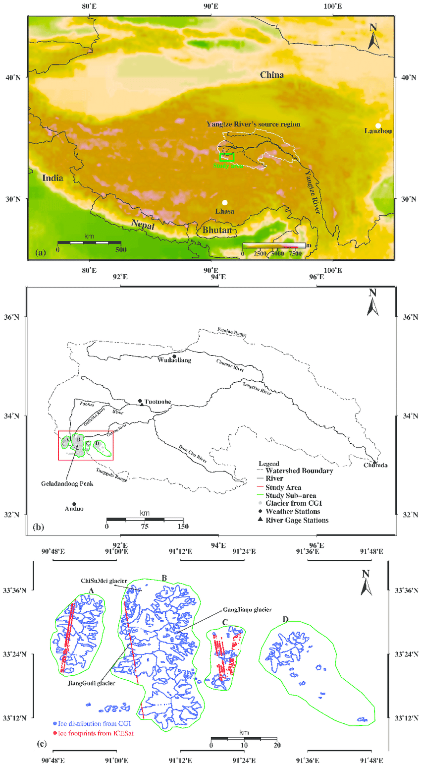 hight resolution of  a the topography of the qinghai tibetan plateau with locations of major rivers