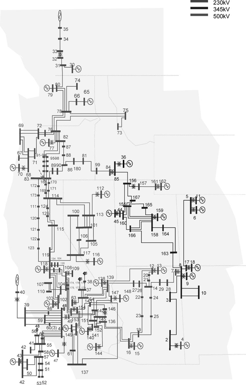medium resolution of wecc 179 bus system one line diagram