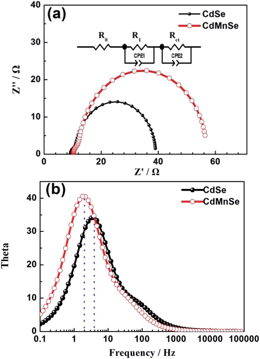 (a) Nyquist plot and (b) Bode plot curves of the QDSCs
