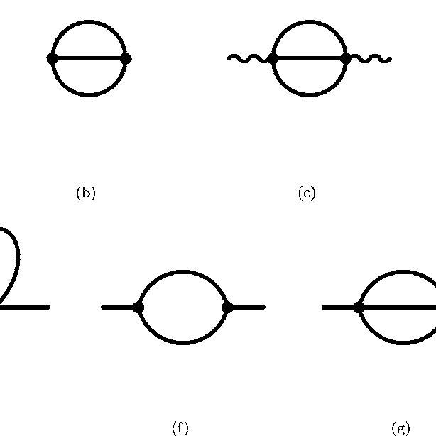 Feynman diagrams: a–d Loop diagrams in 2 . e–g Self-energy