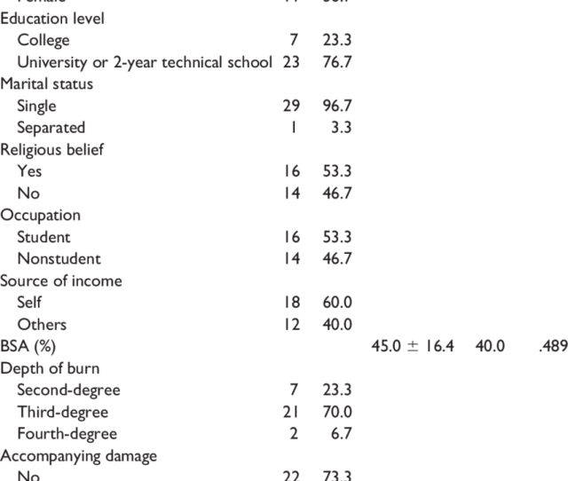 Demographics And Burn Severity Of Patients From The Ffce N 30 Variable
