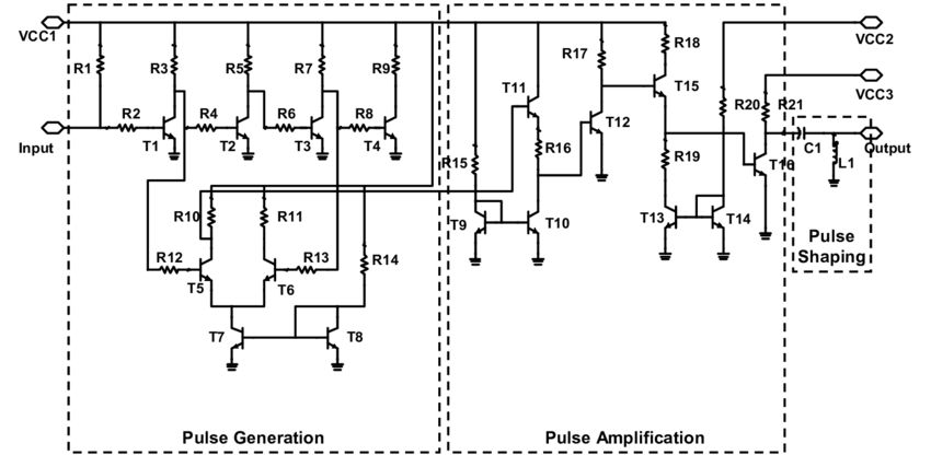 Circuit schematics of the tunable pulse generator
