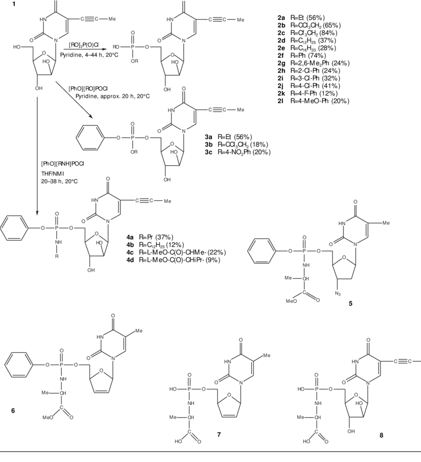 hight resolution of structures of some nucleoside and nucleotide analogues