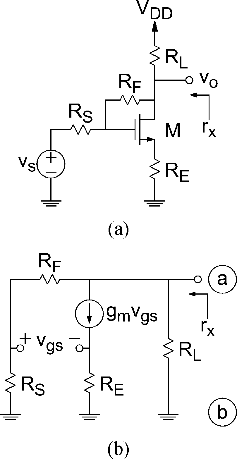 hight resolution of feedback amplifier example a transistor level model b small