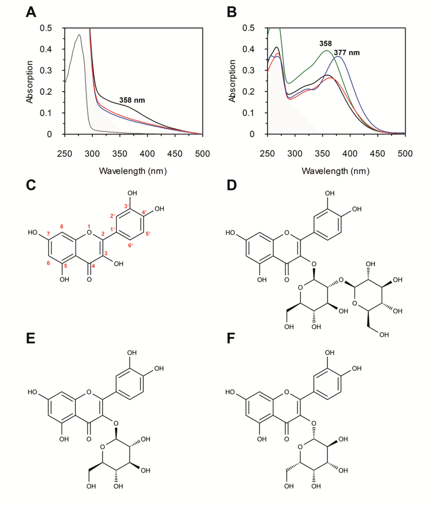 UV/VIS spectroscopy and structures of flavonoids. All