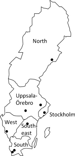 Map of the six national health care regions in Sweden