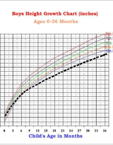 Growth chart ages months the colored lines represent normal patterns for boys black dashed line represents average also rh researchgate
