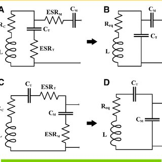 Parallel (A) vs. series (C) tuned coil circuits, and their