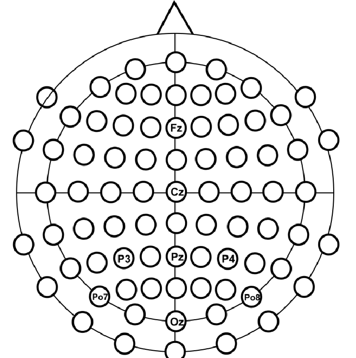 Positions of the EEG electrodes using the Extended 10-20