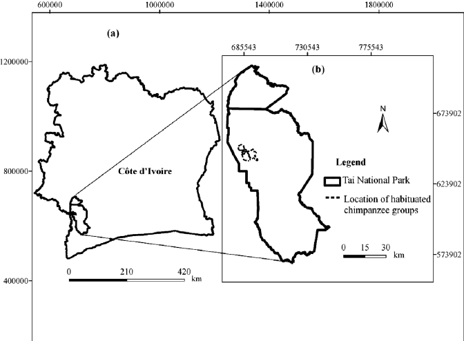 Map showing C ote d'Ivoire with the location of Taı