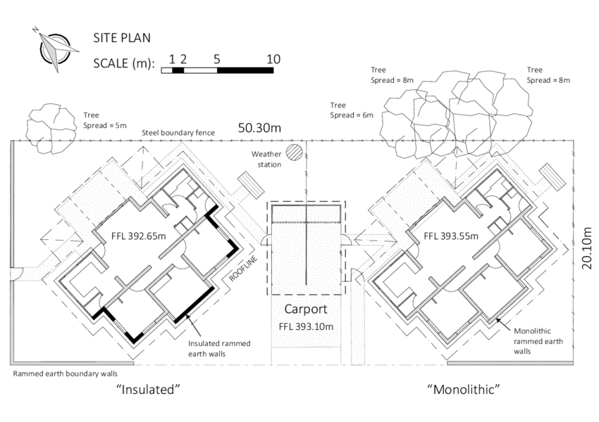 Site plan for the two houses. RE walls are shown in grey