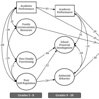 Standardized coefficients for structural equation model