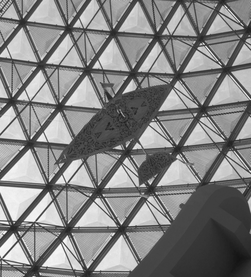 hight resolution of traditional malay kite hanging above the space science display at the national science center in kuala