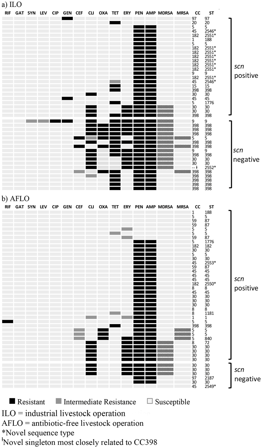 Antibiotic resistance profiles, clonal complexes, and