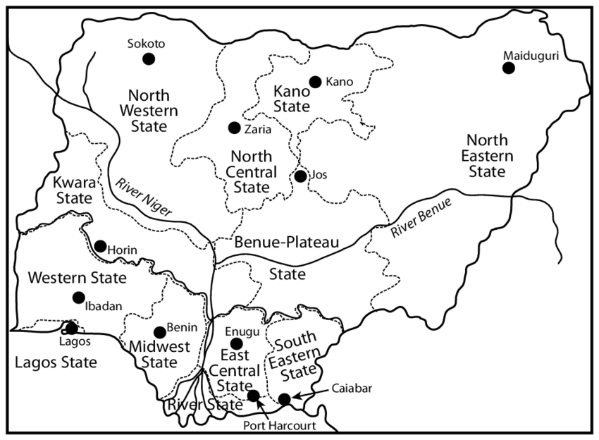 Twelve federal states of Nigeria. A historical map of