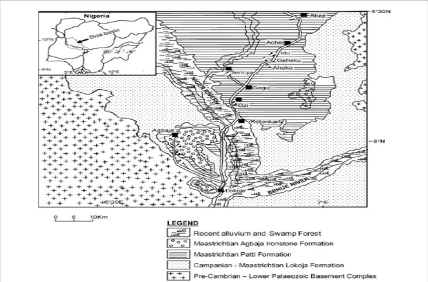 Geological map of the southern Bida Basin (Modified from