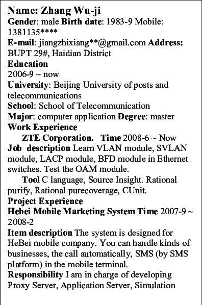 resume parser sample