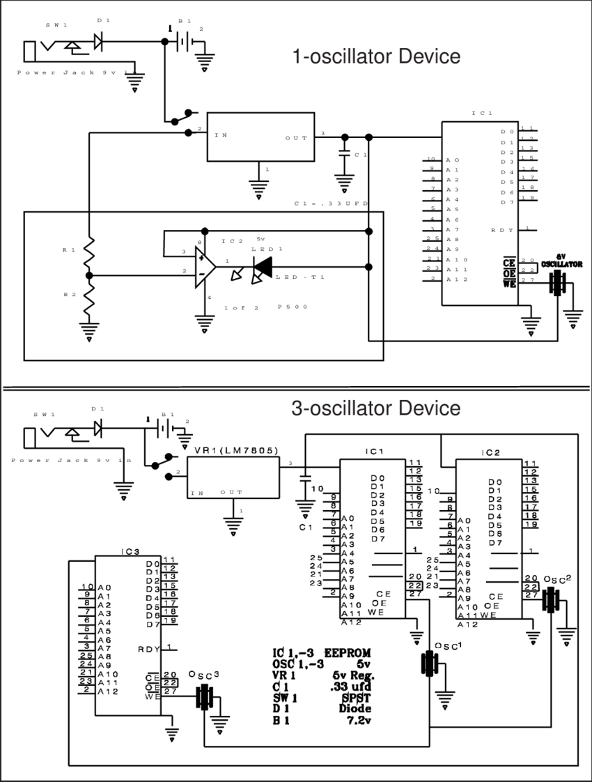Figure A1. Circuit diagrams for the electronic devices