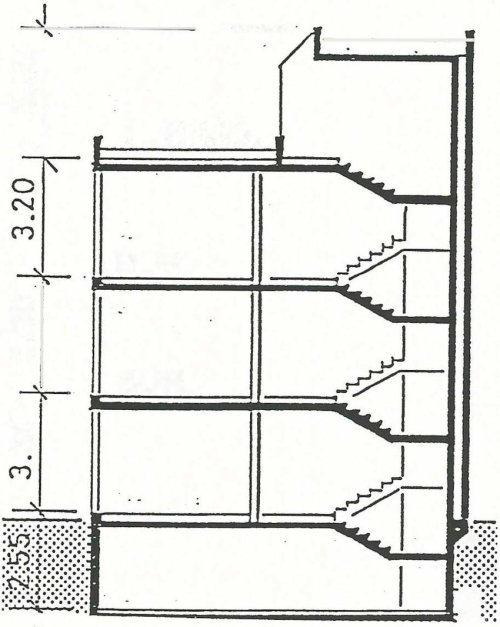small resolution of north south cross section of the central part of the leso building during