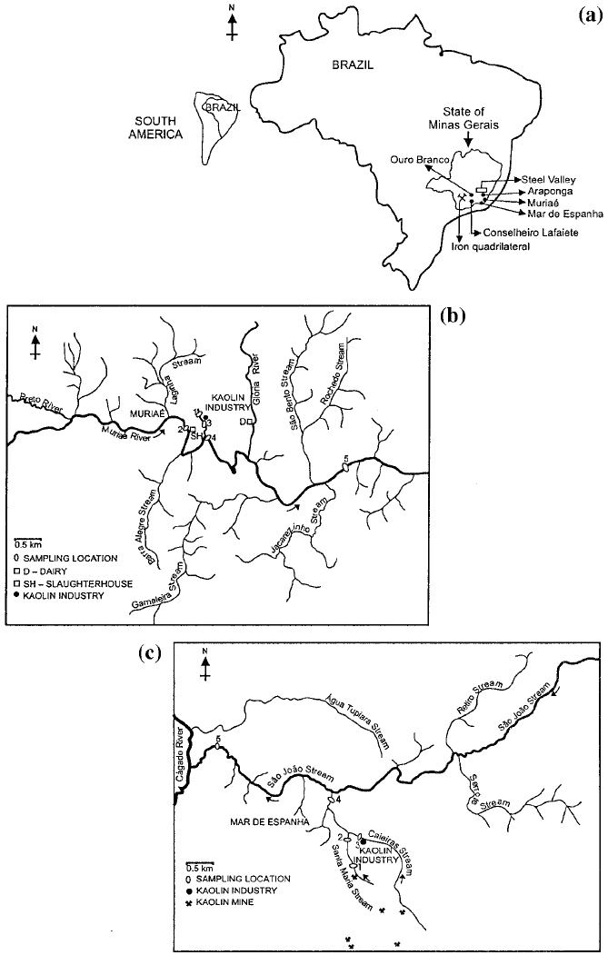 Maps of areas studied showing: (a) State of Minas Gerais