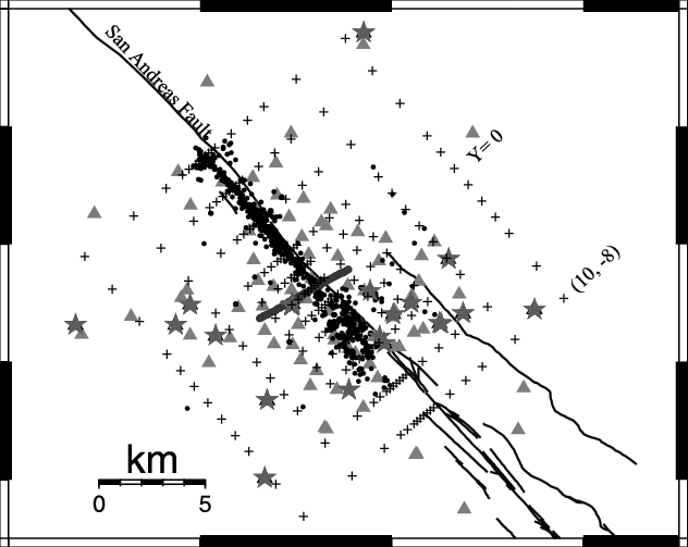 Event and station map. The earthquakes are represented as