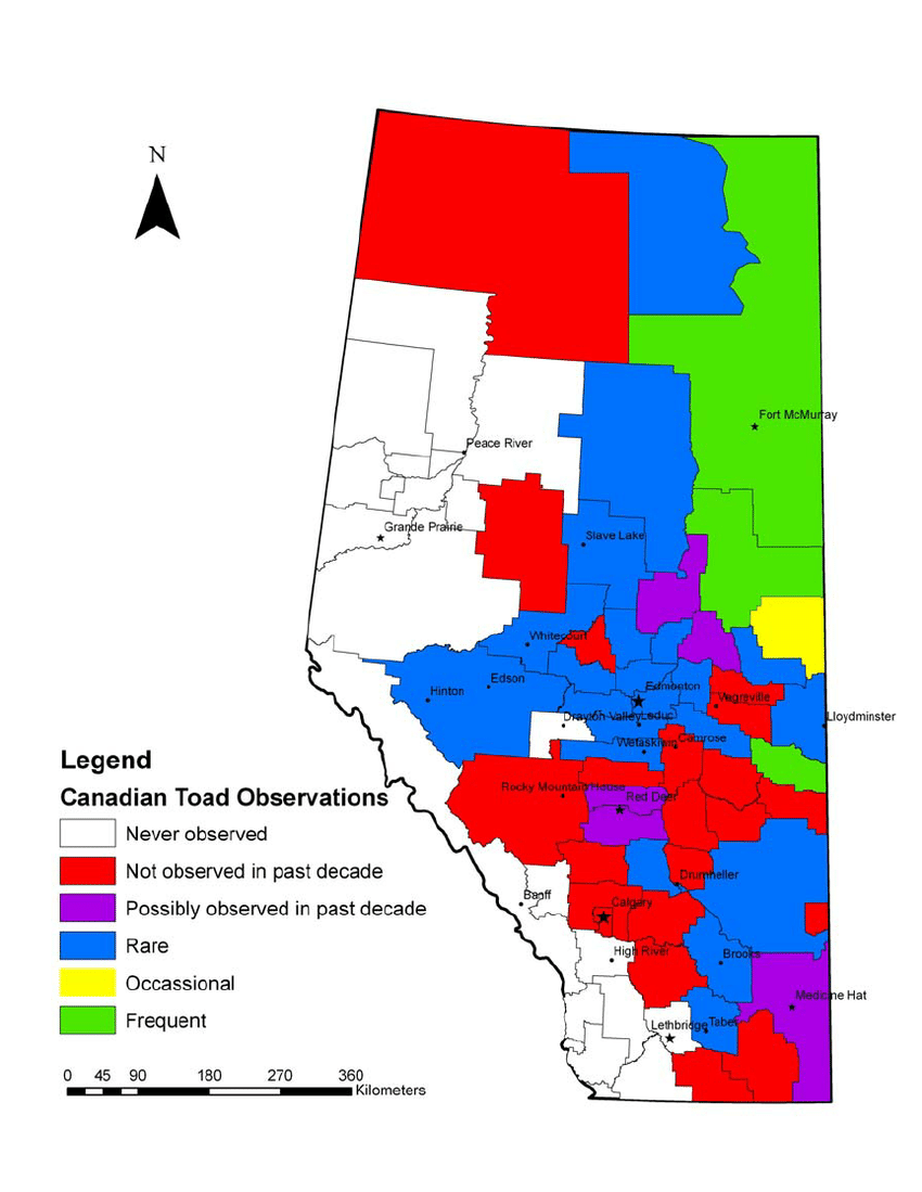 Map of Alberta with counties color coded to represent ...