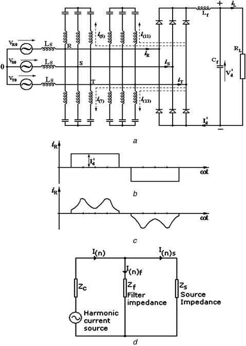 Three-phase six-pulse full bridge diode rectifier with PFs