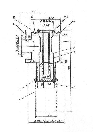 Constructive scheme of the burner for drying-heating