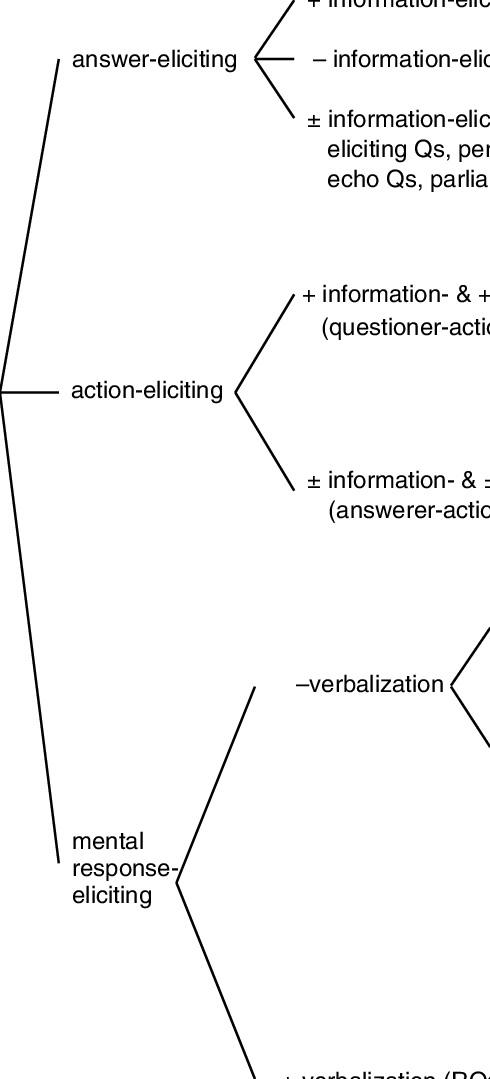Classification of questions in terms of their eliciting