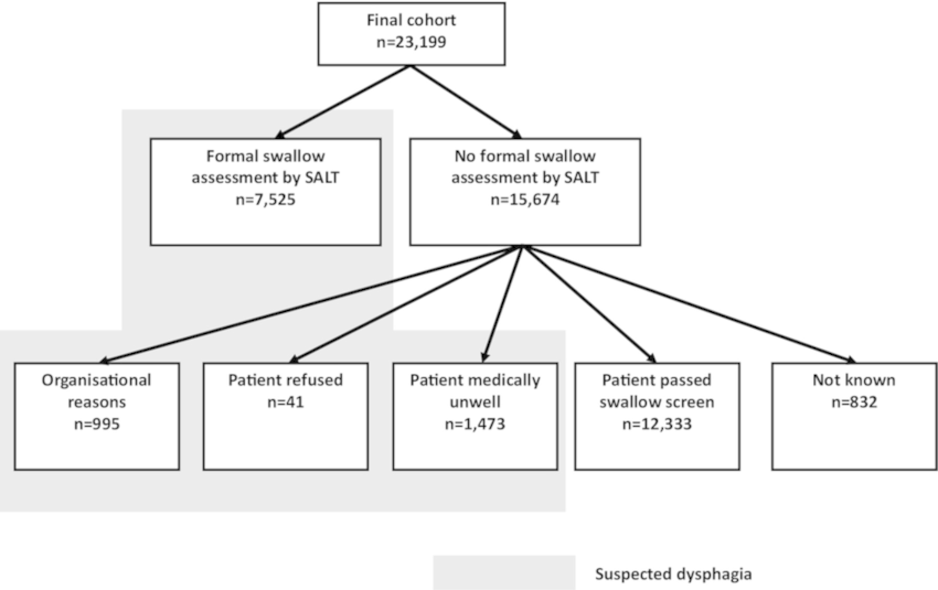 Flow chart defining allocation of dysphagia status. SALT
