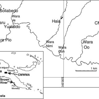 Map showing the position of Crater Mountain Wildlife