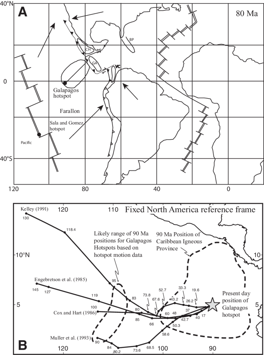 medium resolution of contrasting interpretations for the positions of the gal pagos hotspot during the late cretaceous and its relationship