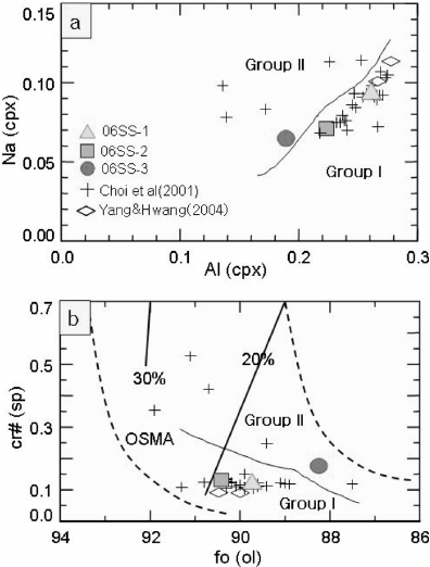 Correlation diagram for the studied mantle xenoliths. (a
