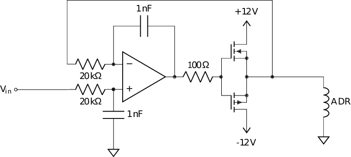 The high current drive circuit for the CADR coils. The