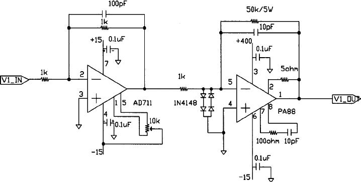 400 V–20 kHz sinewave following a single channel piezo