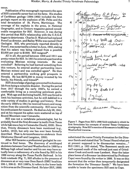 small resolution of pages from hill s 1886 field notebook in which he first formulates his concepts of central texas