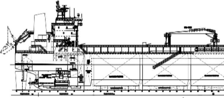 Profile view of 49,000/51,000 dwt oil tanker for unmanned