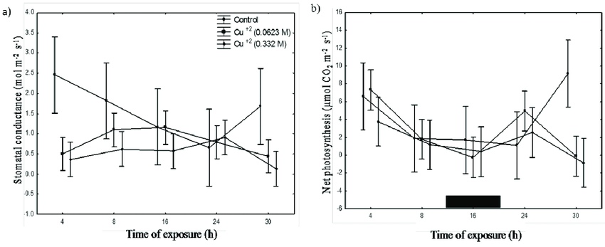 Time course response of stomatal conductance (a) and net