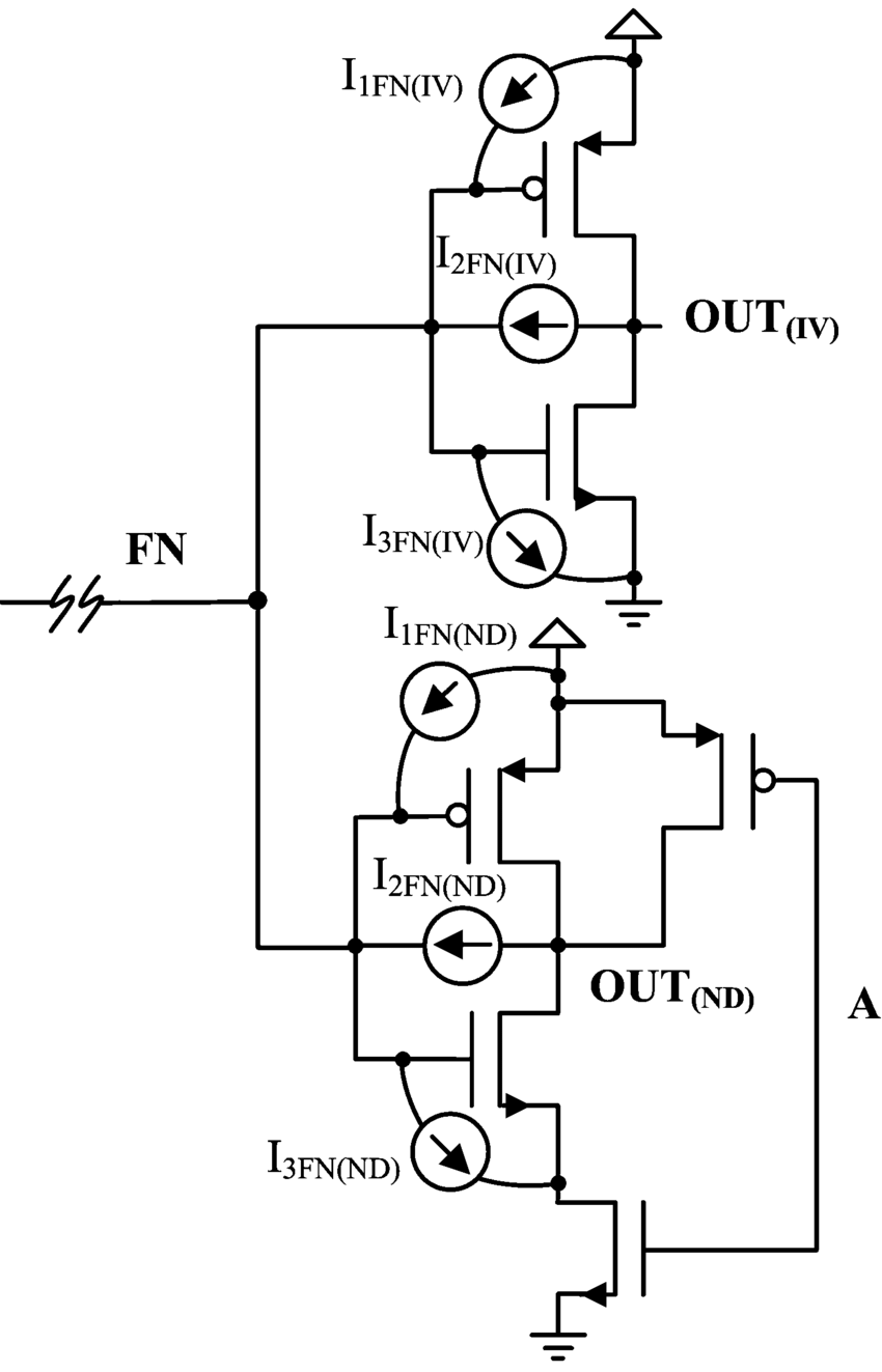hight resolution of floating line driving an inverter and a 2 input nand gate