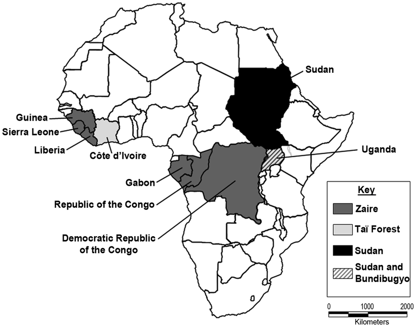 African countries where endemic transmission of Ebola