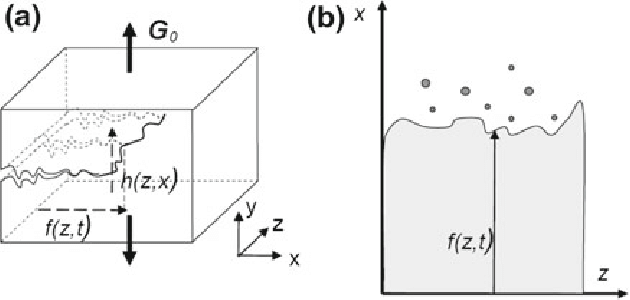Sketch and notations of a crack front propagating in a 3D