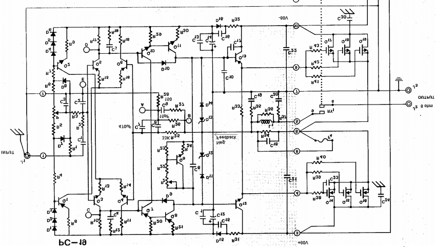 Hafler DH500 audio power amplifier schematic, on channel
