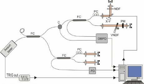 Schematic of second experimental setup: Swept Source OCT